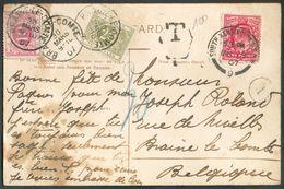 GB 1p. Obl. Sc LONDON KENSINGTON Sur CV Du 29 Mars 1907 Vers BRAINE-le-COMTE Et Taxée à 30c. Par T-TX 10 Et 20c. Sc BRAI - Taxes