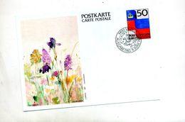 Carte Postale 50 Couronne Drapeau Cachet Vaduz 75 An Timbre Illustré Fleur - Stamped Stationery