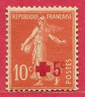 France N°146 Croix-Rouge 10c +5c Rouge Foncé 1914 ** - 1906-38 Semeuse Camée