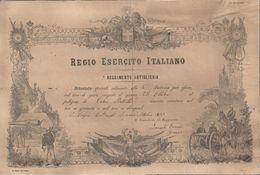 ATTESTATO DI TIRO A GRANATA E SHRAPNEL IL 25 OTTOBRE 1903 ALLA 4ª BATTERIA - INCOLLATO SU CARTONCINO - Documenti