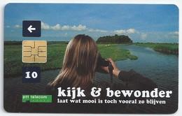 NL.- PTT Telecom. Kijk En Bewonder. Laat Wat Mooi Is Toch Vooral Blijven. Kikker. Landschap. Sloot. Weiland. A429 - Telefoonkaarten