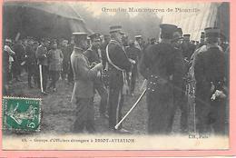 Groupe D'officiers étrangers à Briot-Aviation - Grandes Manoeuvres De Picardie  Gros Plan - Francia