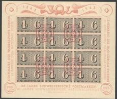Schweiz Suisse 1943: Zürich-Luxusbogen Zu WIII16 Mi Block 9 Yv BF 8 Mit Ersttag-Stempel ZÜRICH 26.II.43 (Zu CHF 90.00) - Bloques & Hojas