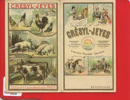 CRESYL JEYES PARIS PRODUITS SANITAIRES FERME ANIMAUX Poule Cochon Chromo Dépliant PARIS Rue Francs Bourgeois - Chromos