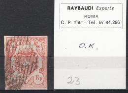 Svizzera 1852 15 R. Unif.23 O/used VF/F Signed Raybaudi - 1843-1852 Poste Federali E Cantonali