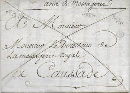 """1776 - LETTRE En FRANCHISE """"AVIS De MESSAGERIE"""" De PARIS => DIRECTEUR MESSAGERIE ROYALE De CAUSSADE - 1701-1800: Précurseurs XVIII"""
