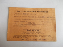 Carte D'assurance Automobile 1956 Cabinet Nicolas Limoges - Vecchi Documenti