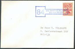 75c. DISTRIFLASH Sur Enveloppe Griffe Verte 84 Via DISTRI-FLASH 03/53.20.97 Vers Anvers (Expdition Du Bureau De OEVEL = - Belgique