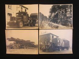 Lot De 4 Photos Grand Format, Camions 1950, Etablissements BELLIARD BOIS à Beaupreau (49). - Cars