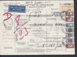 ITALIE - 1968 - Bollettino Di Spedizione Par Avion, De Imola Pour Antwerpen - Non Livré Et Retour Par Voie De Surface - - 1946-.. République
