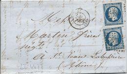 LT4477  Deux N°14A Bleu Foncé/Lettre, Oblit PC 1818 Lyon, Rhone (68) Pour St Jean-la-Busiére Du 31 Dec 1855 - 1853-1860 Napoléon III
