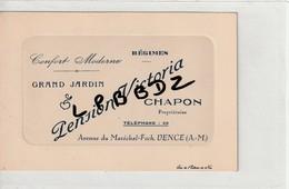 CARTE PUBLICITAIRE - 06 - VENCE - Pension Victoria - Av. Du Maréchal Foch - Chapon Propriétaire - Vence