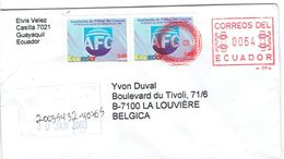 Lettre Recommandée De Guayaquil, Equateur (Ecuador) Avec Timbres Football Futbol Du 30/1/2003 Vers La Belgique - Ecuador