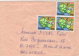 Lettre Du Ghana Avec 3 Timbres 5th Anniversary Of ECOWAS Vers La Belgique (sans Date) - Ghana (1957-...)