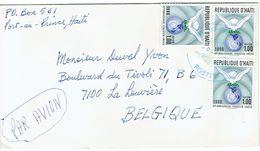 """Lettre De Port-au-Prince, Haïti Avec 3 Timbres """"40 Ans De L'Unesco"""" Vers La Belgique (vers 1986) - Haïti"""