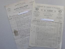 BAR-SUR-AUBE (10): Fabrique Pompe & Alambic - Lot 2 Factures Différentes (1886 - 1892) - Plombier JANIN - Rue D'Aube - France
