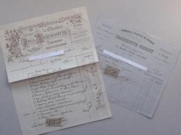 BAR-SUR-AUBE (10): Ebéniste Tapissier CHAUSSOTTE-VOURIOT - Lot 2 Factures Différentes (1886  1902) - Meuble - Rue Thiers - 1800 – 1899