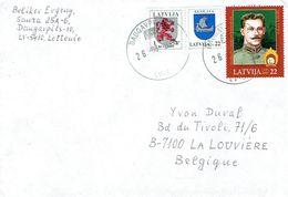 Lettre De Daugavpils (Lettonie) Avec 3 Timbres Vers La Belgique (26/08/2008) - Lettonie