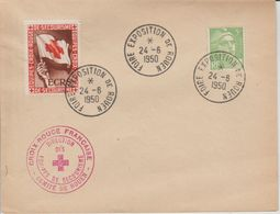 France Foire Exposition De Rouen 1950 Avec Cachet Et Vignette Croix Rouge - Marcofilie (Brieven)
