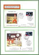 12073 Premier Pas Sur La Lune Tintin 1989 Kourou France Espace (space Raumfahrt) Lettre (cover Briefe) - Lettres & Documents