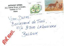 Lettre De La Valette (Valetta) Avec 2 Timbres Vers La Belgique (21/1/2005) - Malte