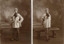 2 CPA - CARTES -PHOTOS   -  Jeune Homme En Costume Ancien Avec Des Sabots - Photos MIDGET à PARIS - Anonymous Persons