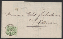 """émission 1869 - N°30 Sur LAC Obl Double Cercle """"Ciney"""" 13/11/1874 Vers Namur - 1869-1883 Léopold II"""