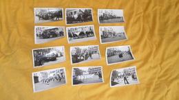 LOT DE 12 PHOTOS ANCIENNES DATE ?. / FETE, DEFILE, LIEU AMIENS ?.CHAR, CALECHE... - Photographs