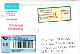Lettre De Brno Rép; Tchèque Avec Vignette D'affranchissement Vers La Belgique (14/9/07) - Tchéquie