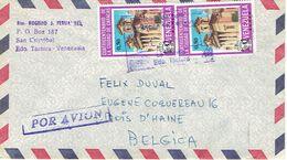 Lettre De San Cristobal Edo Tachira Venezuela Avec 3 Timbres Cuadricentenario De Caracas Vers La Belgique - Venezuela