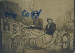 MOTO With Side Car -  Old Photo CILLIEZ  ( 9 X 6 Cm )  Surréalisme  Kermess - Kermis - Photographs