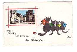 15 Mauriac Cpa Fantaisie Illustration Illustrateur René Chat Chats Bon Souvenir De Mauriac Coccinelle - Mauriac