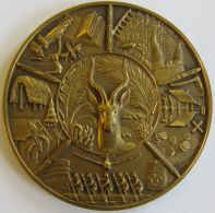 M05312 CONGO BELGE - RUANDA URUNDI - EXPOSITION UNIVERSELLE - 1958 (322g) Antilope, Outils, Huttes, Village Au Revers - Professionals / Firms