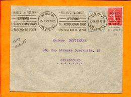 Paris, Paris 21, Flamme à Texte, Utilisez La Poste Aerienne, Se Renseigner Dans Les Bureaux De Poste - Storia Postale