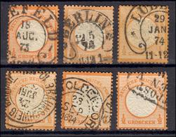 18 Großer Brustschild 1/2 Groschen Orange: Stempel-Lot Mit 6 Werten - Deutschland