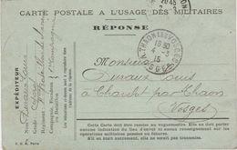 Carte Postale Franchise Militaire / REPONSE / Départ En Serbie / Châlon 51 / 88 Chavelot Par Thaon / Vosges - 1914-18