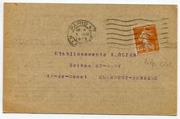 RC 8068 FRANCE 1929 - 25c SEMEUSE PERFORÉ CGE COMPAGNIE GENERALE D'ÉLECTRICITÉ SUR CARTE PRIVÉE DE PARIS - France
