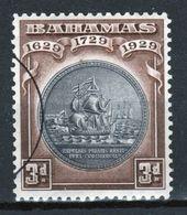 Bahamas 1930 George V 3d Tercentenary Of Colony Black And Scarlet Fine Used Stamp. - Bahamas (...-1973)