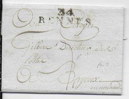 AN 7 - LETTRE En PORT DU ! (RARE) De RENNES (ILLE ET VILAINE) => DIRECTEUR Des POSTES à BAYEUX (CALVADOS) - 1701-1800: Précurseurs XVIII