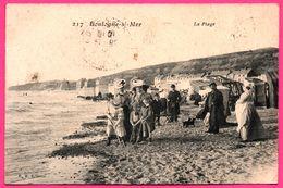 Boulogne Sur Mer - La Plage - Famille - Cabines Solaires - Chien - Animée - Edit. B.M. - 1908 - Boulogne Sur Mer