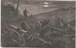 """Carte Postale """" En Argonne"""" /""""Batterie Allemande Détruite Par Le 75 """"/ Canon / Obus / Soldat Français Pantalon Rouge - 1914-18"""