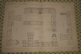 Plan De L'Ecole Polytechnique De Karlsruhe. Grand Duché De Bade. Allemagne. 1869 - Travaux Publics