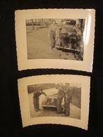 Lot De 2 Photos, Renault 4 Cv Cabriolet, Années 1950, France. - Cars