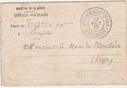 Carte Lettre /1915/ Ministère Guerre/Mairie Plombières 88/  Lieutenant Prisonnier Blessé / Ste Clotilde / 59 Douai Nord - 1914-18