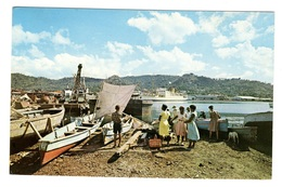 SAINTE LUCIE - Fishing Canoes And Cruise Ship In Castries Harbour - Sainte-Lucie