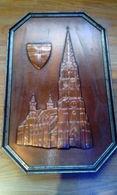 RARE COPPER PAINT PLAQUE BIG SIZE 40-25 CM.CHURCH GERMANY Bandarbeit FREIBURG CHURCH COLLECTABLE - Cuivres