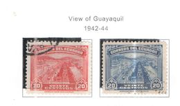 Ecuador PO 1942/44 Vedtute Guayaquil Scott.408+408a+ See Scans On Scott.Page - Equateur