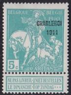 Belgie  .   OBP   .  105        .   *   .   Ongebruikt Met  Charnier .   /    .  Neuf  Avec  Charniere - 1910-1911 Caritas