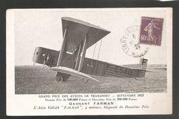 """GRAND PRIX DES AVIONS DE TRANSPORT 1923 - AVION GOLIATH """"FARMAN, 4 Moteurs - Voyagée 1928 - 1919-1938: Entre Guerres"""