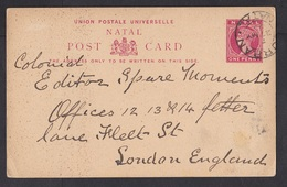 Natal: Stationery Postcard Durban To England, 1899, Queen Victoria, QV, Rare Real Use (minor Discolouring, See Scan) - Zuid-Afrika (...-1961)